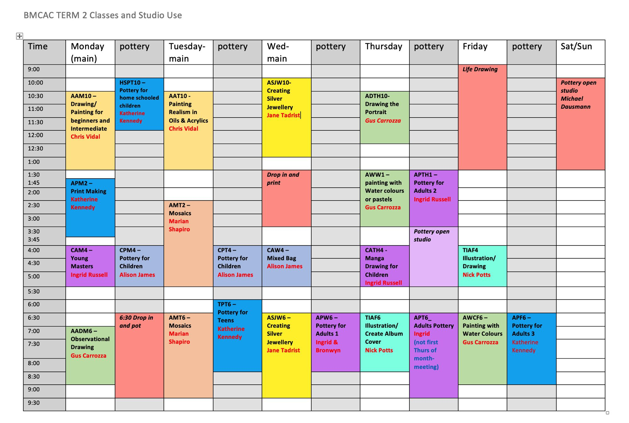 Term 2 classes and studio use